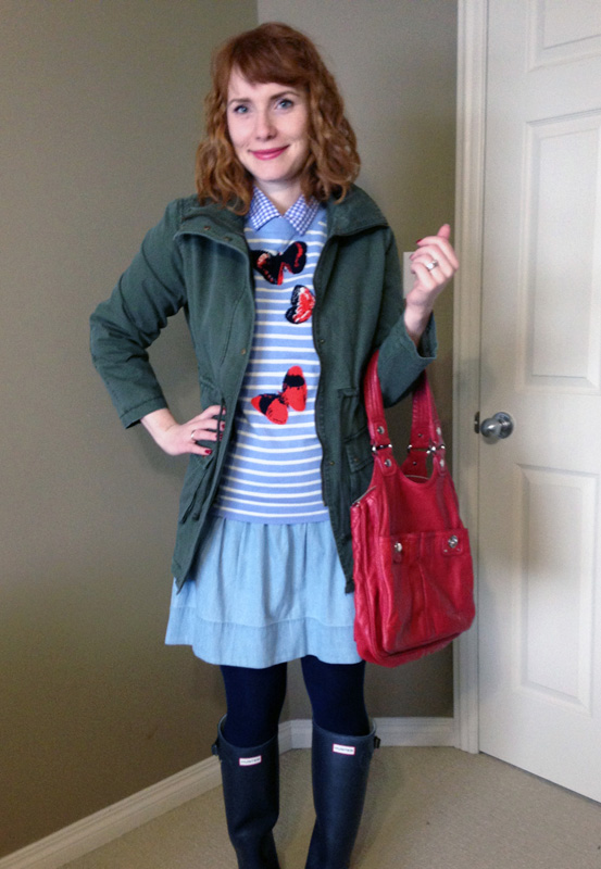 blue collar red lipstick, what i wore