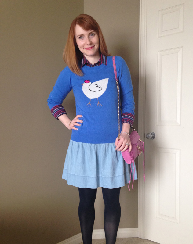 Skirt, Old Navy; sweater, J. Crew Factory; shirt, Tommy Hilfiger; bag, Rebecca Minkoff (via eBay)