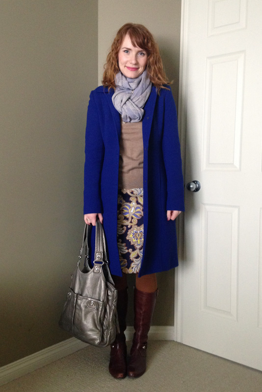 J Crew cobalt Lady Day coat; LOFT paisley skirt