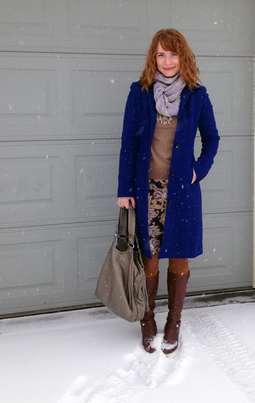 J. Crew Lady Day cobalt coat; LOFT paisley skirt