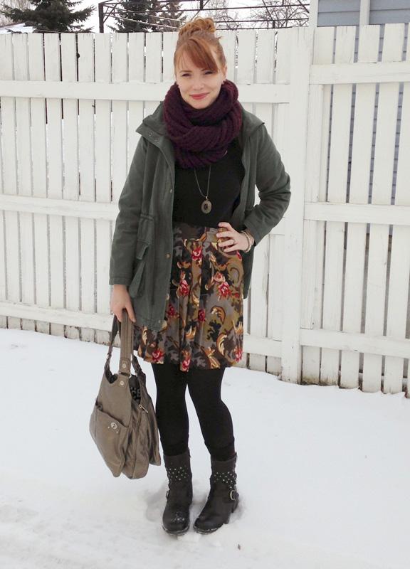 floral skirt, field jacket, Josef Seibel Sandra 10, Marc Jacobs Turnlock Teri