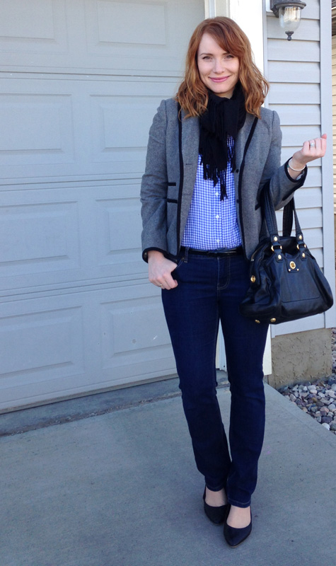 blue gingham shirt, J. Crew Boutonniere grey jacket
