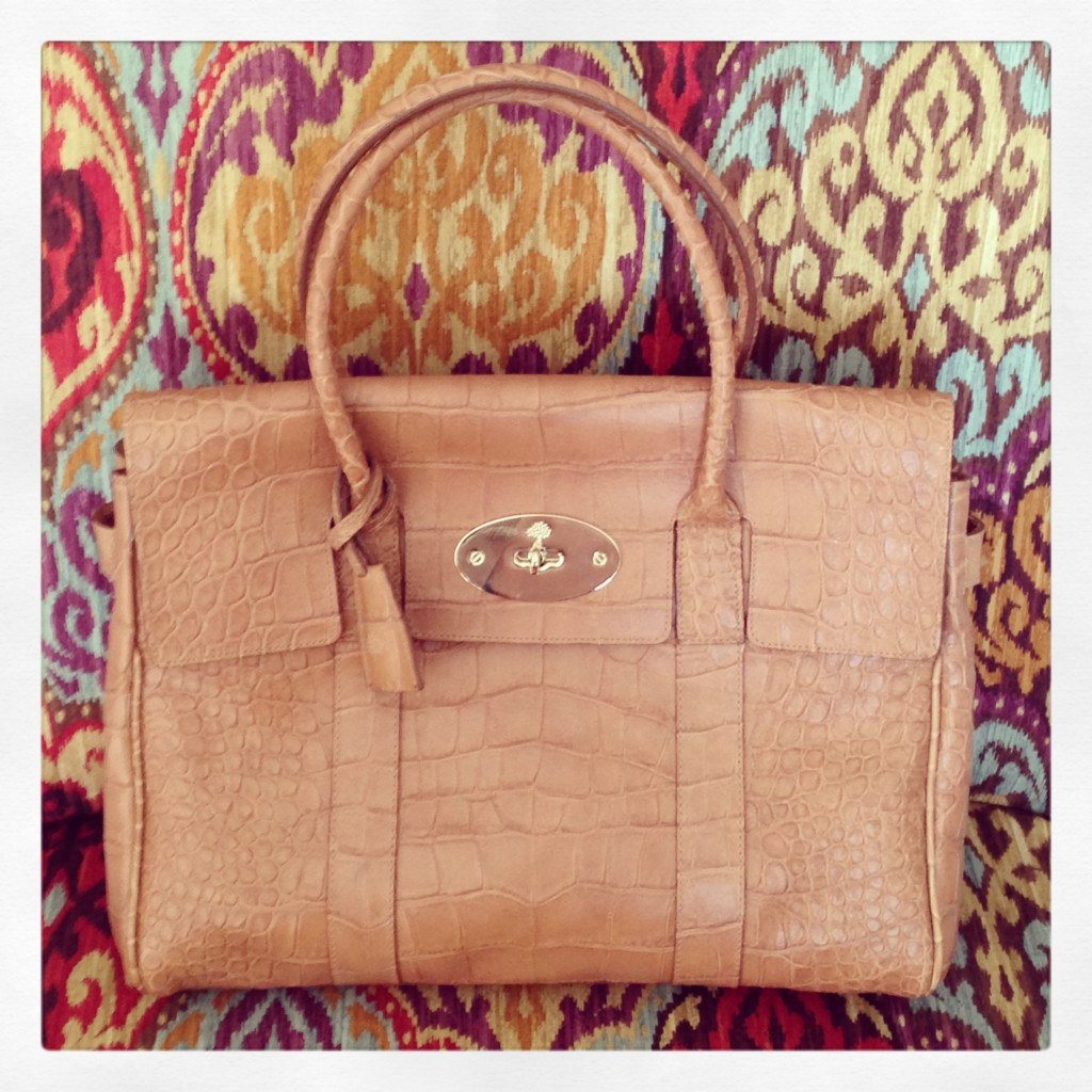 Mulberry Biscuit soft croc bayswater