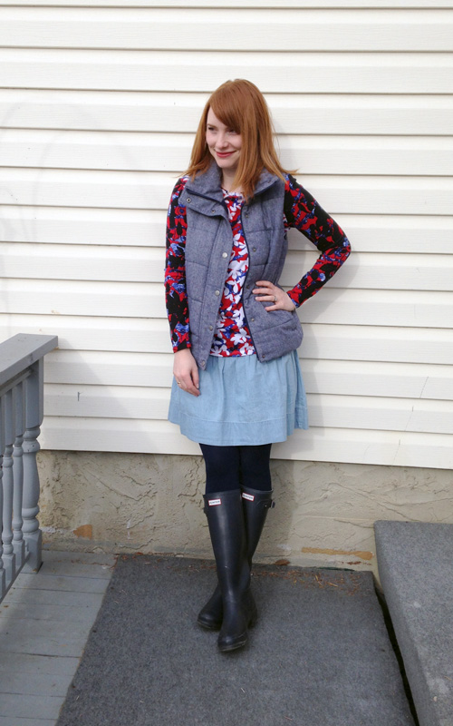 blue collar red lipstick; pilotto for target; old navy vest