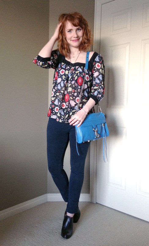 blue collar red lipstick; Anthropologie floral top; Rebecca Minkoff Cerulean MAC