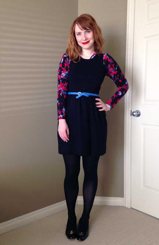 J. Crew shift dress; blue collar red lipstick