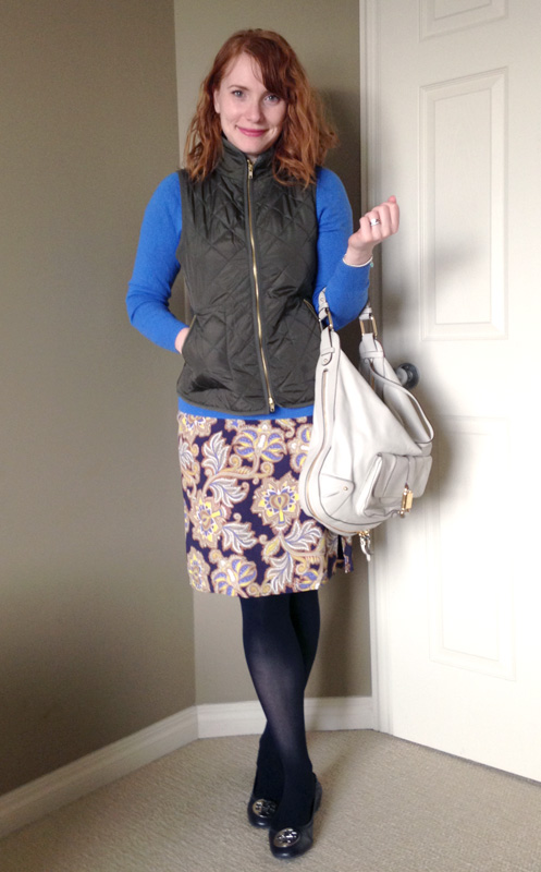 LOFT paisley skirt; Marc Jacobs Courtney hobo
