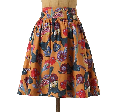 Anthroplogie floral skirt; hamatreya skirt