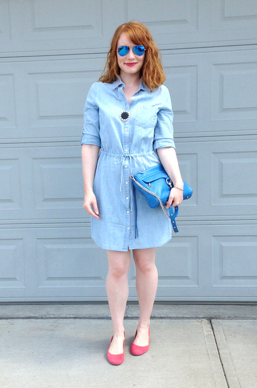 Old Navy chambray dress; capsule dressing
