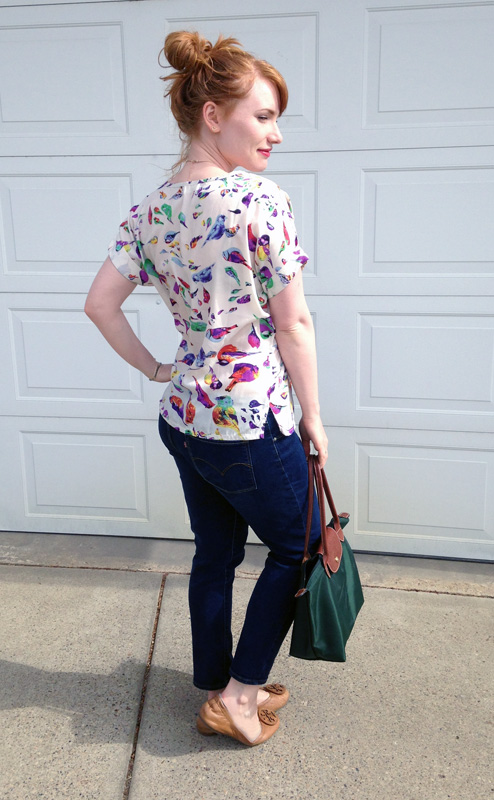 Longchamp Le Shopping tote; bird print blouse