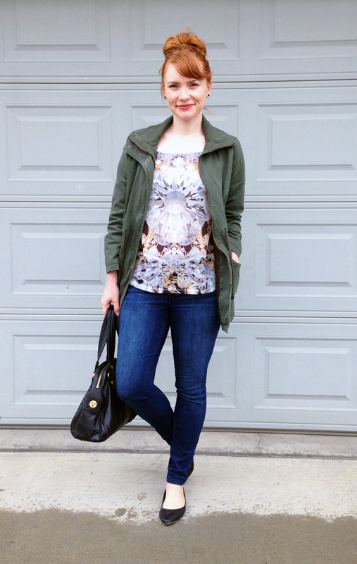 diamond print tee; old navy field jacket