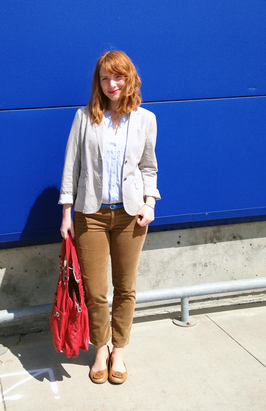 Adriano Goldschmied stevie cropped cords; J. Crew striped blazer