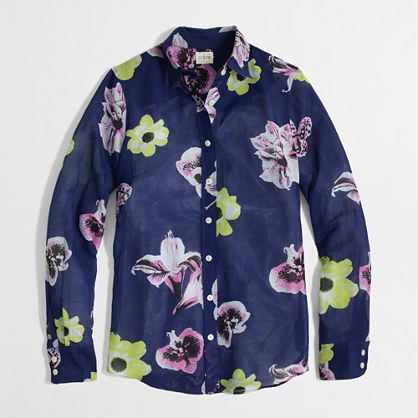 J. Crew Factory floral shirt (dark cove)
