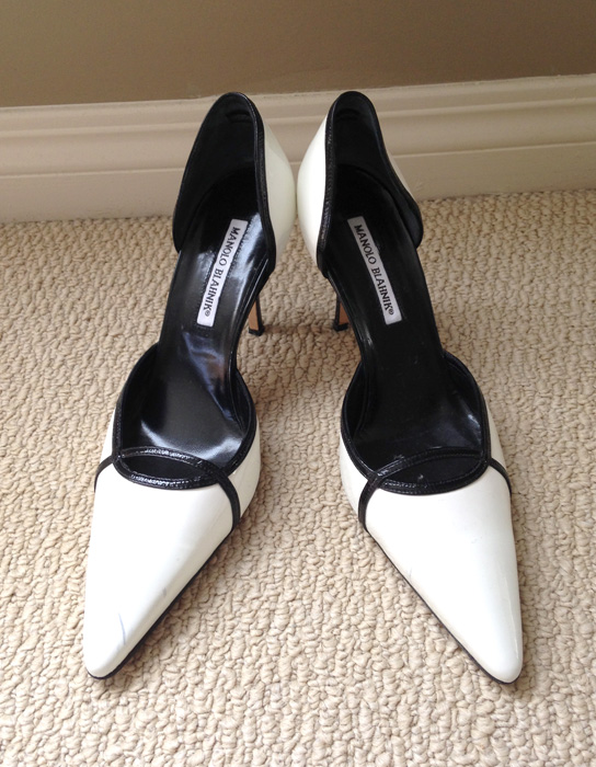 Manolo Blahnik white patent leather pumps black trim