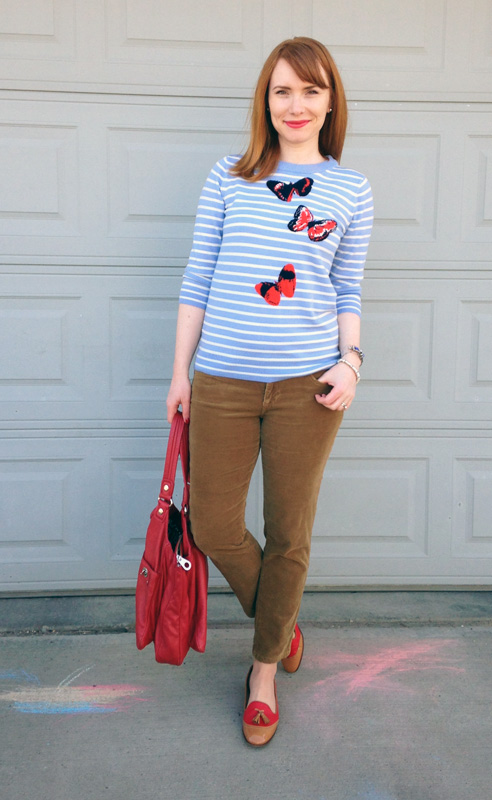 J. CRew butterfly sweater; Adriano Goldschmied Stevie cords