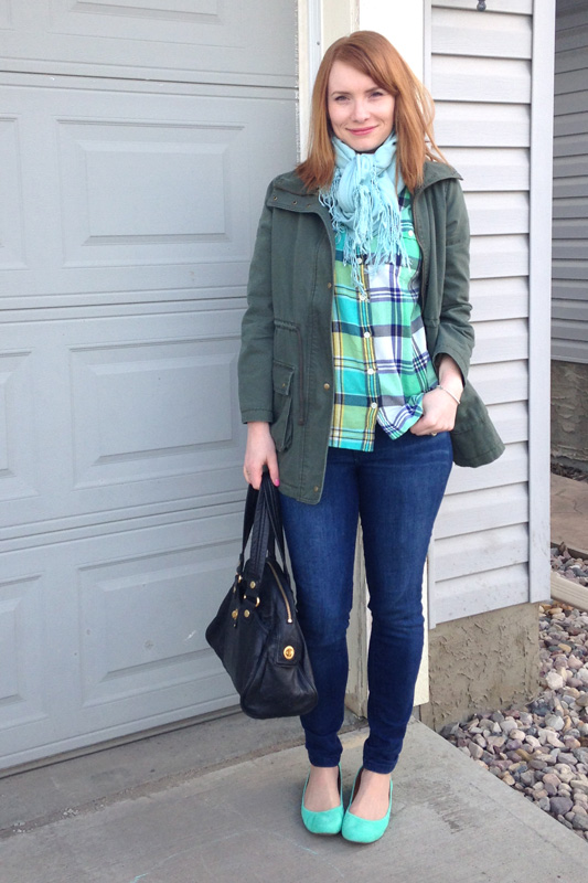 J. Crew green plaid flannel shirt