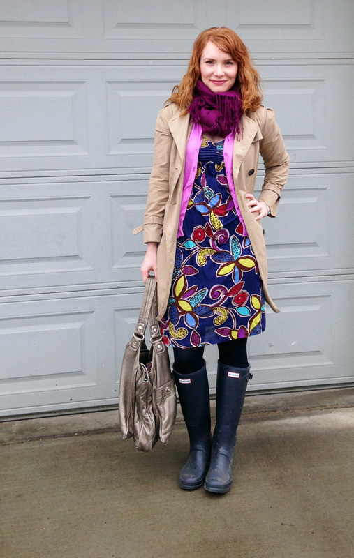 Boden floral blueberry dress, navy hunter boots