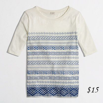 J. Crew Factory Stripe Embroidered Tee