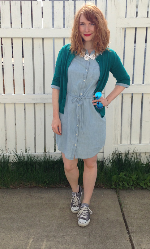 Old Navy chambray dress; grey chucks Converse