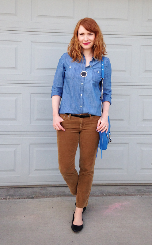 Old Navy chambray shirt; House of Harlow starburst necklace