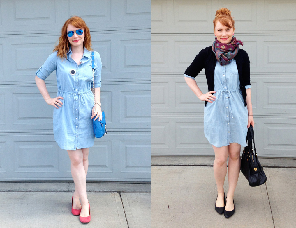 Old Navy chambray dress; 30 x 30