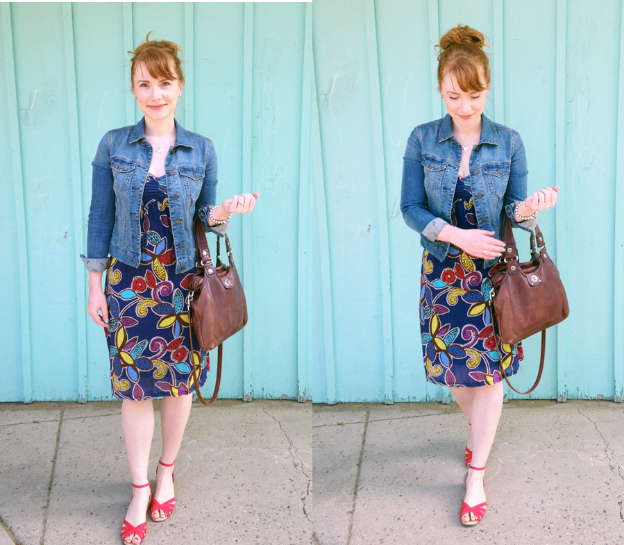 Boden floral print blueberry dress; Marc Jacobs Mag bag