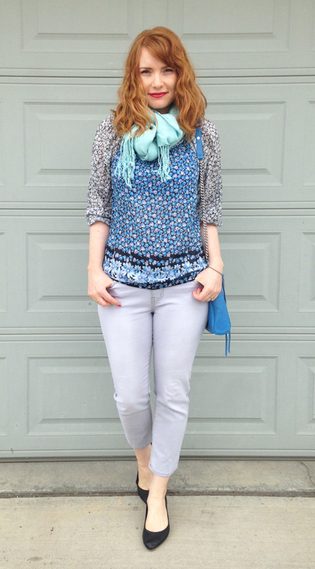 Edme & Esyllte Anthropologie floral peasant blouse; grey jeans