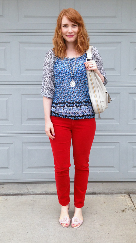 AG stevie cropped red cords; red cords; Mel flower flats