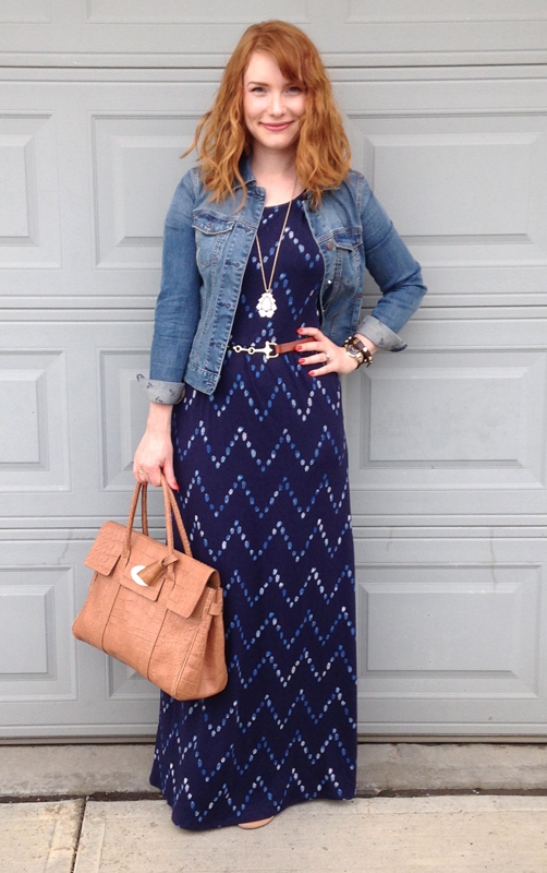 Target Merona print maxi dress; Mulberry Bayswater soft croc biscuit