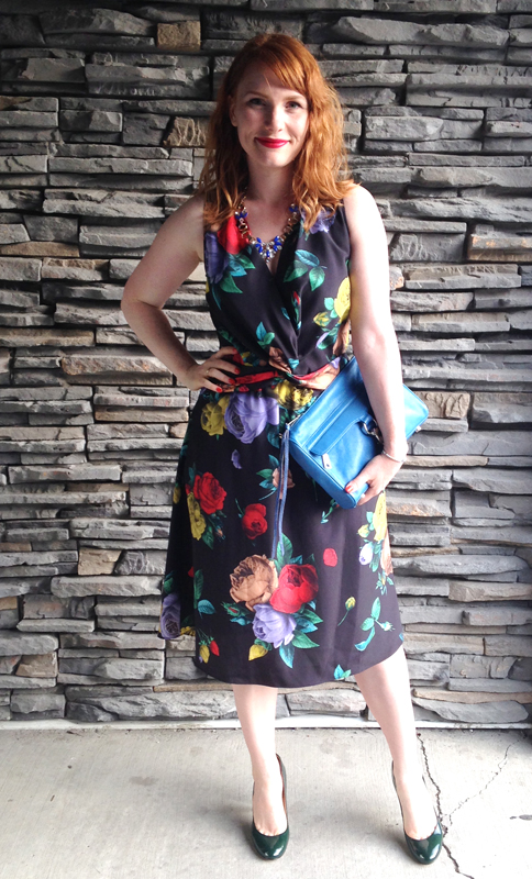 Moschino floral dress; Minkoff Cerulean MAC