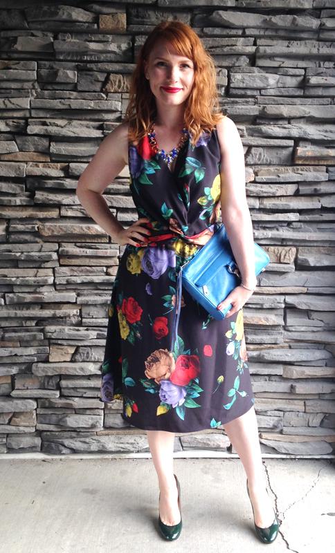 Moschino floral dress; Minkoff Cerulean MAC