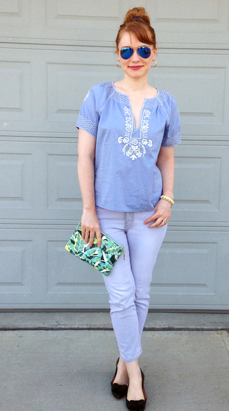 J. Crew embroidered peasant blouse; Gap palm leaf clutch