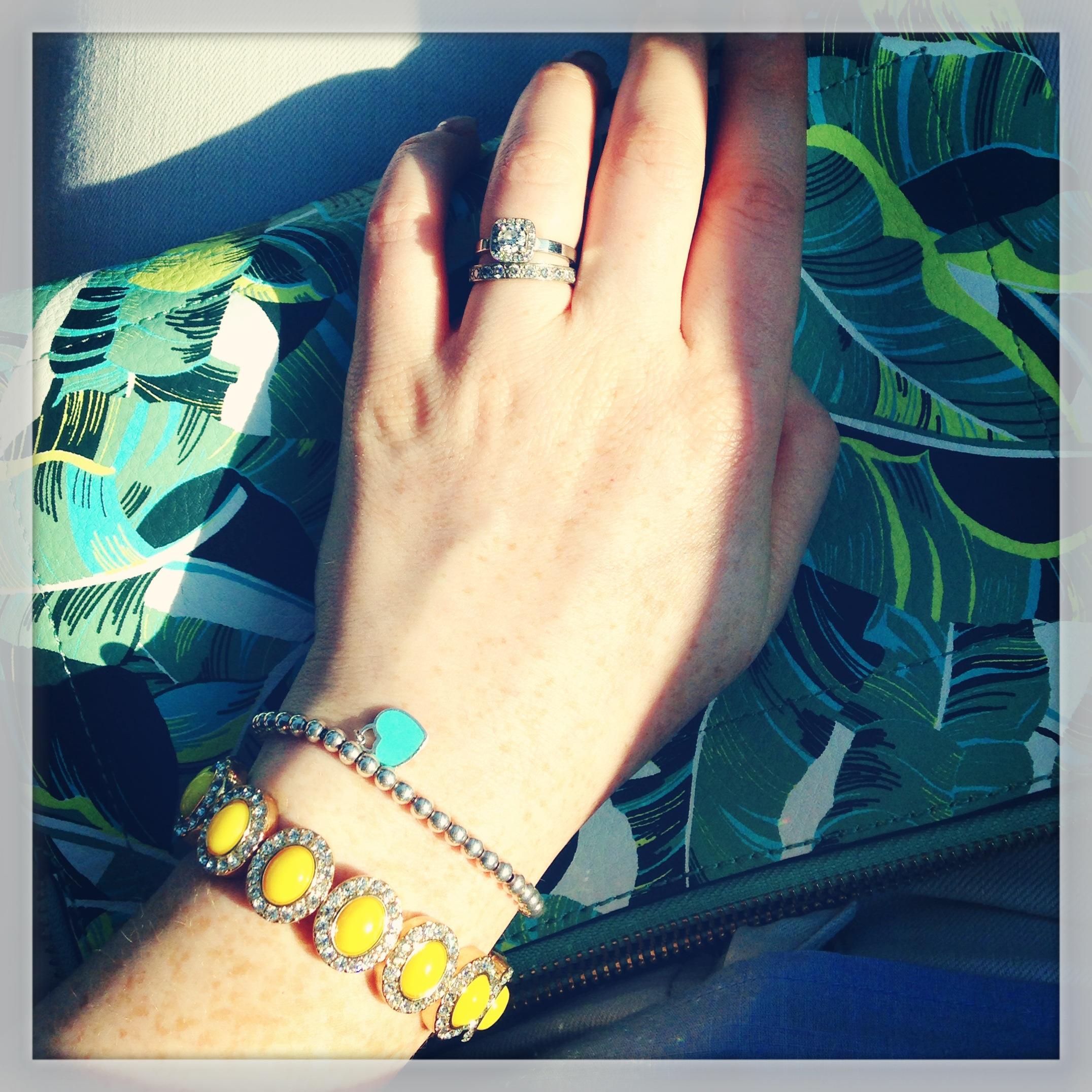 Tiffany heart mini bead bracelet; J. Crew yellow rhinestone bracelet