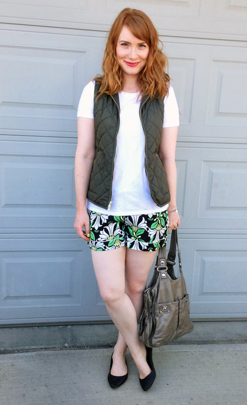 Joe Fresh shorts; Old Navy khaki vest
