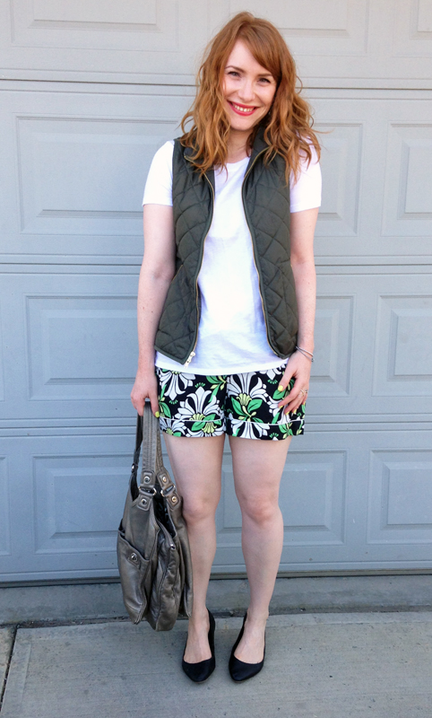 Joe Fresh shorts, Old Navy khaki vest