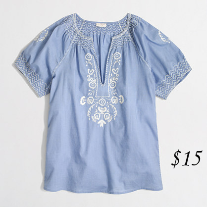 J Crew V-Neck Peasant Top