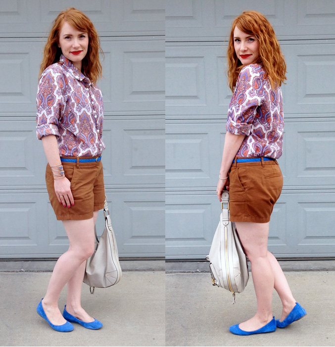 J. Crew Factory orange blue paisley shirt; J. Crew brown chino shorts; J. Crew Factory Anya flats