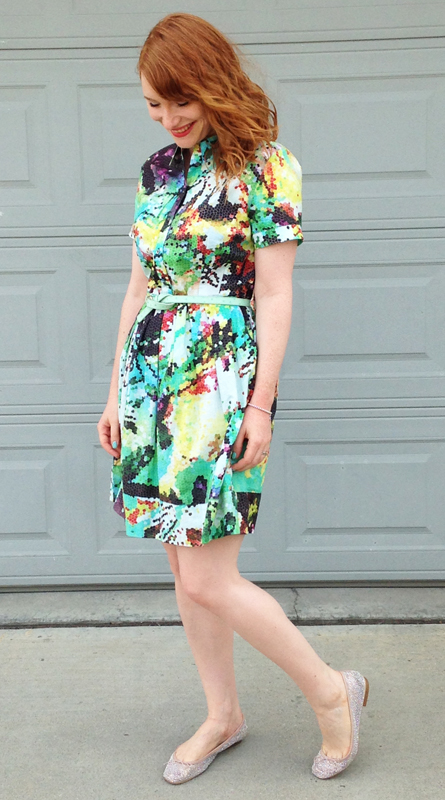 Katherine Barclay floral abstract print shirt dress