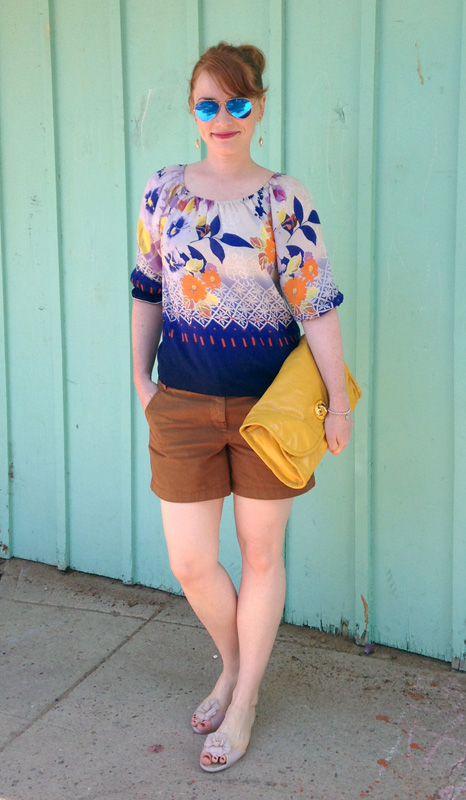 Anthropologie Fei Dreamscape Floral top; J. Crew Chino shorts