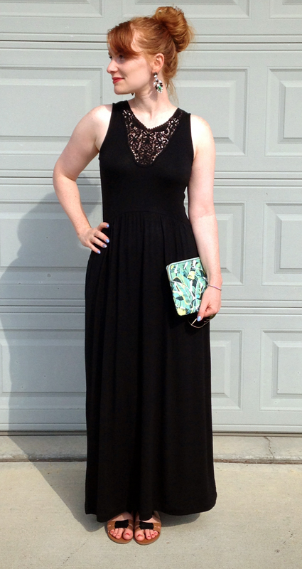 Gap Factory black maxi dress lace