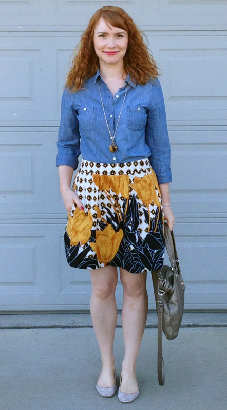 Edme & Esyllte tulip perspective mini skirt; Zara sparkle flats; Zara mesh rhinestone flats; Marc Jacobs Mag bag