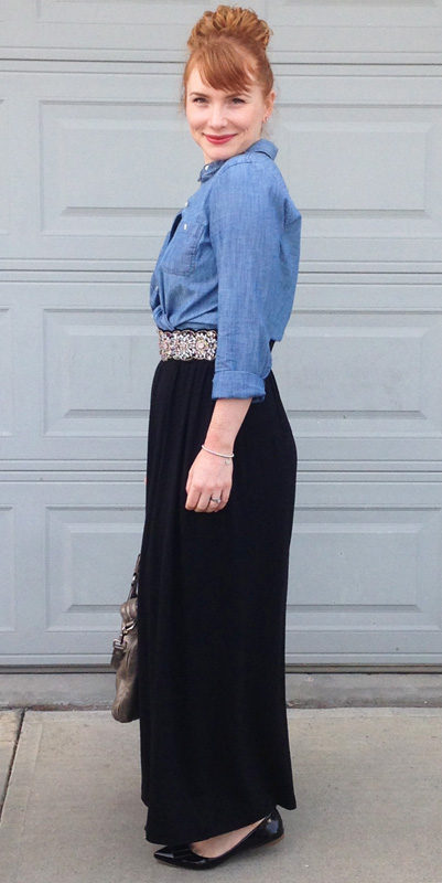 Gap maxi dress; Old navy chambray shirt; anthropologie jewel belt; maxi dress worn as skirt