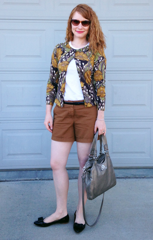 J. Crew chino shorts; LOFT floral cardigan; Marc Jacobs Mag bag fools gold