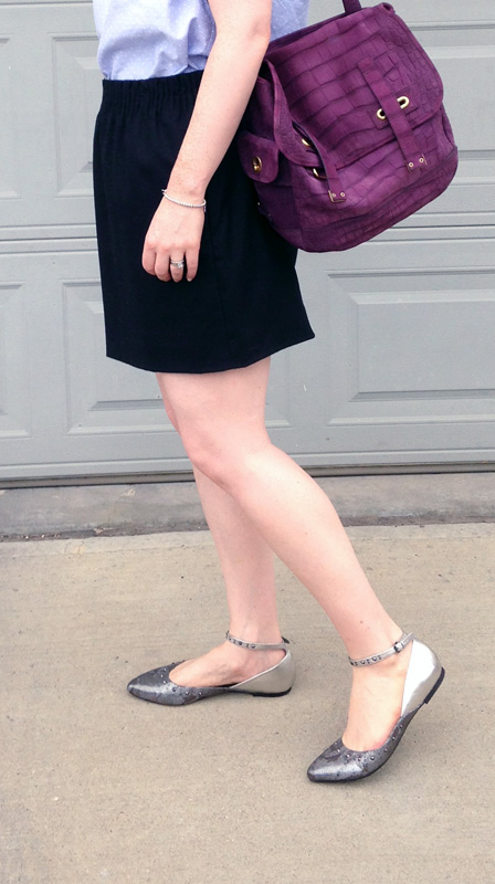 YSL Besace satchel messenger; J. Crew Factory wool mini skirt; G by Guess metallic flats