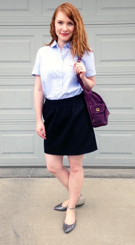 YSL Besace satchel messenger; J. Crew Factory wool mini skirt