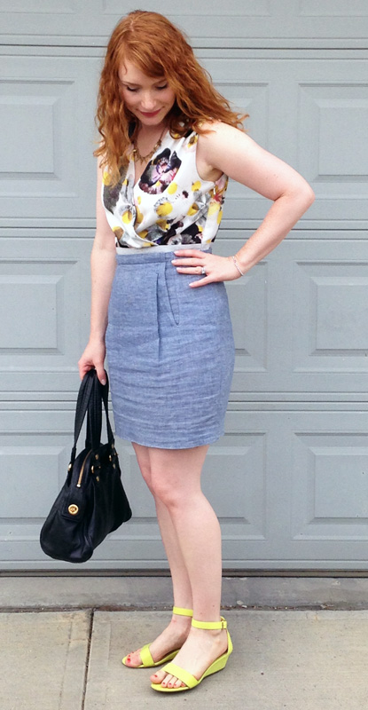 Rachel Roy floral chambray dress; old navy yellow wedge sandals