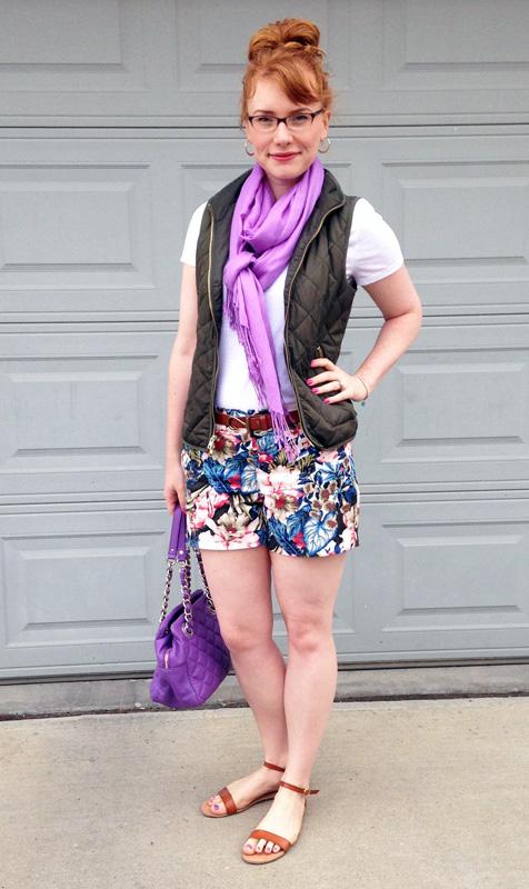 Kate Spade Gold Coast Elizabeth bag; J. Crew Factory floral shorts; Old Navy cognac sandals; Gap hook belt