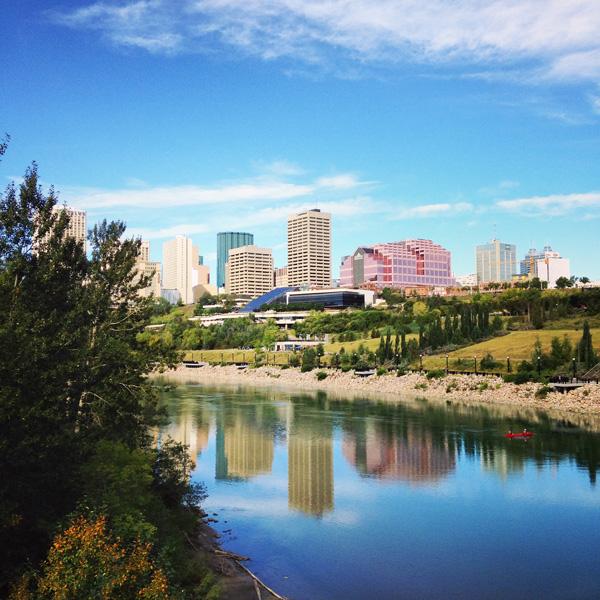 Edmonton downtown; North Saskatchewan river; edmonton river view