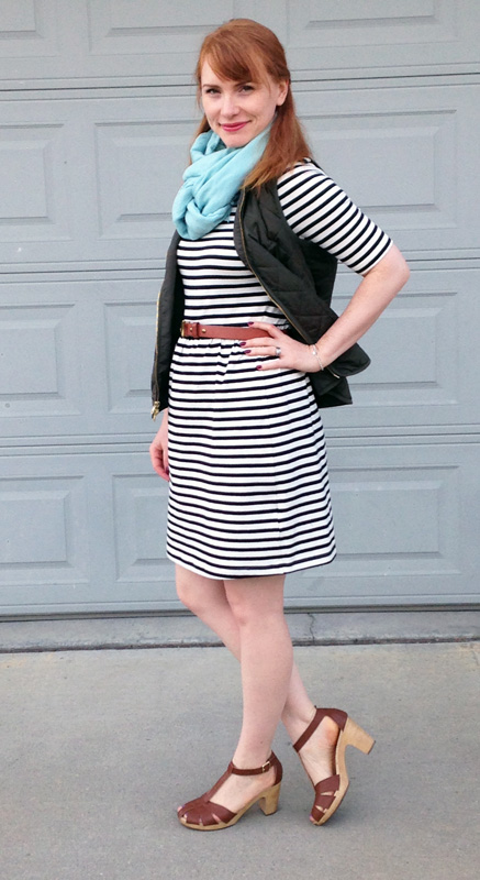 Old Navy striped dress; Old Navy khaki vest; Old Navy clog sandals