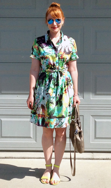 Katherine Barclay shirt dress; pixelated floral dress